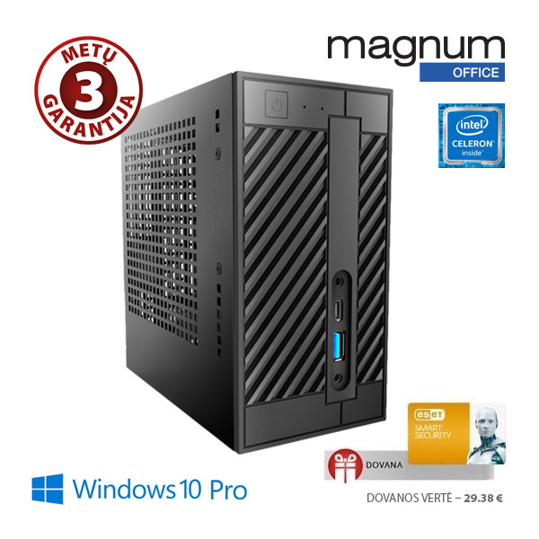 Kompiuteris Magnum Office MINI Celeron G3930 2x2.9Ghz/4GB/32GB SSD/Intel® HD Graphics 610/EsetSS/Windows 10 Pro