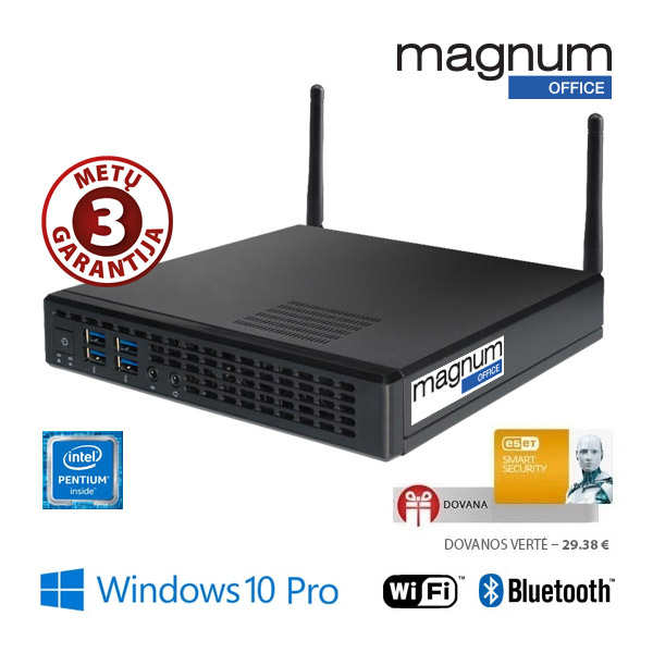 Kompiuteris Magnum Office TINY Pentium G4400T 2x2.9Ghz/4GB/32GB SSD/Intel® HD Graphics 530/COM/Wifi+BT/EsetSS/Windows 10 Pro