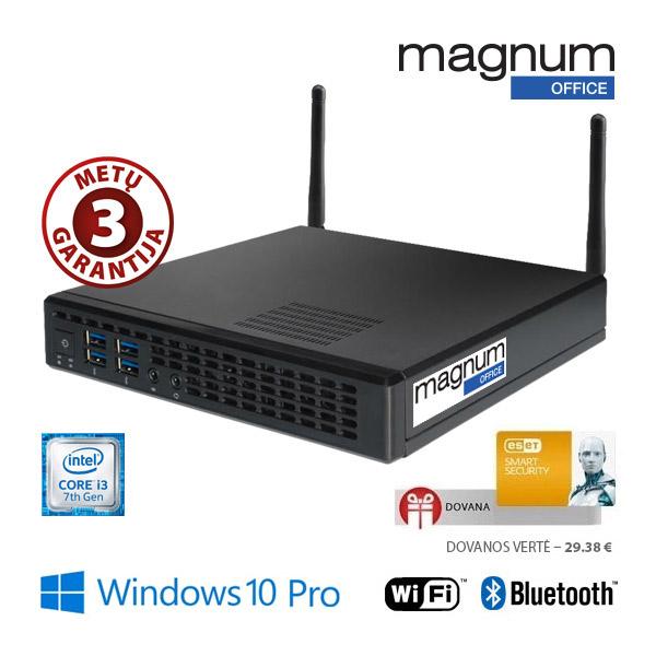 Kompiuteris Magnum Office TINY Core i3-7100 2x3.9Ghz HT/4GB/120GB SSD/Intel® HD Graphics 630/COM/Wifi+BT/EsetSS/Windows 10 Pro